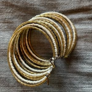 Gold, white and black beaded cuff bracelet